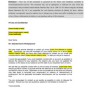 Abandonment of Employment Caution Letter