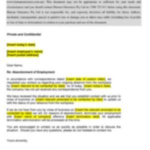 Abandonment of Employment Intent to Terminate Employment Letter