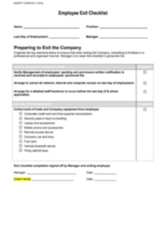 Employee Exit Checklist