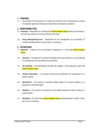 Employee Induction Procedure