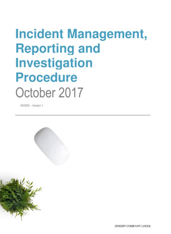 Incident Management, Reporting and Investigation Procedure
