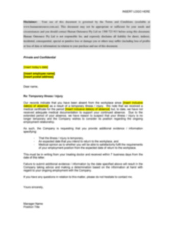 Long Term Illness-Injury Show Cause Letter