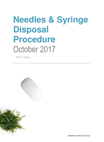 Needles and Syringe Disposal Procedure