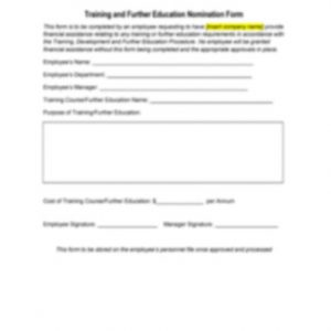 Training and Further Education Nomination Form