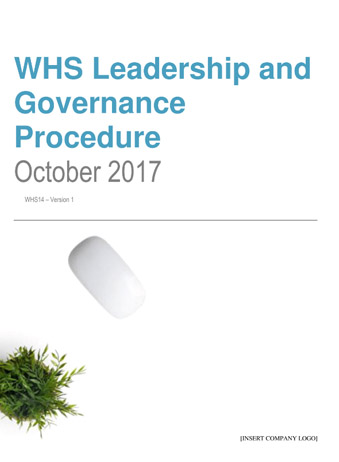 Workplace Health and Safety Leadershsip and Governance Procedure