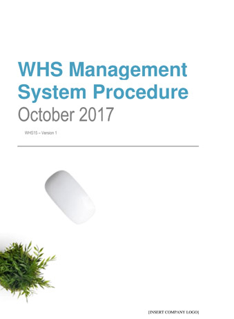 Workplace Health and Safety Management System Procedure