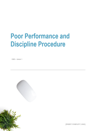 Poor Performance and Discipline Procedure