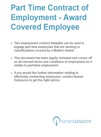 Part Time Contract of Employment – Award Covered Employees