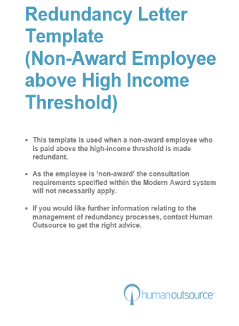 Redundancy Letter – Employees over High Income Threshold